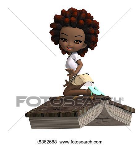 Carino poco cartone animato ragazza scuola con capelli ricci