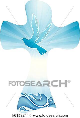 Christliche Kreuz Taufe Symbol Mit Taube Und Wellen