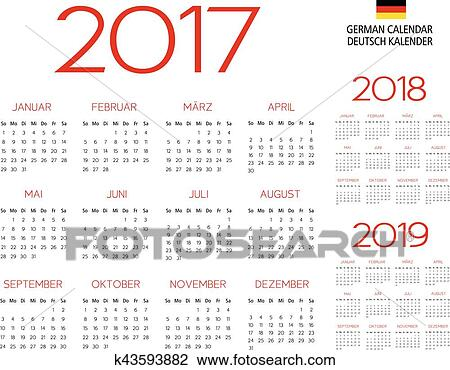 german calendar 2017 2018 2019 template vector text is outlined