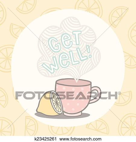 Clipart of get well greeting card with cute cup k23425261 search clipart get well greeting card with cute cup fotosearch search clip art m4hsunfo