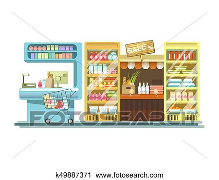 Clipart Of Shop Counters Of Supermarket Store Product Stands Vector New Art Display Stands Racks