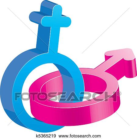 Clip Art Of Two Crossed Glitter Sex Signs Male And Female Symbols