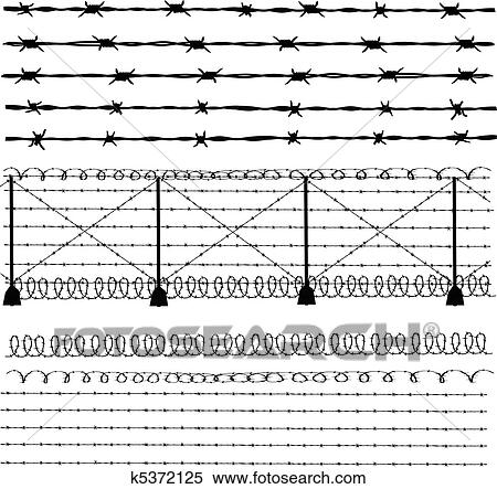 Clipart of Barbed wire - fence k5372125 - Search Clip Art ...