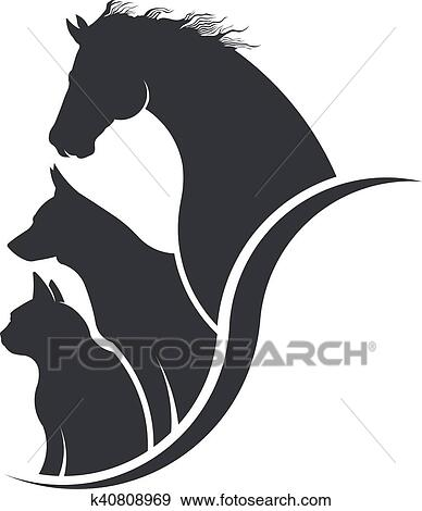 Cheval chien chat ami b tes illustration clipart k40808969 - Clipart cheval ...