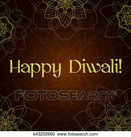 Clipart of diwali festival greeting card with gold glitter texture clipart diwali festival greeting card with gold glitter texture and mandala fotosearch search m4hsunfo