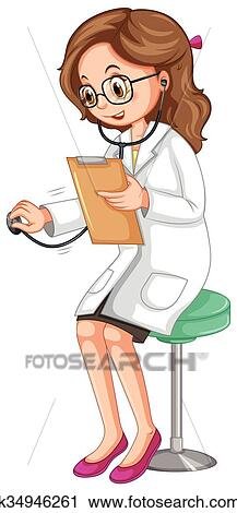Female Doctor Examining Patient With Stethoscope Clipart K34946261