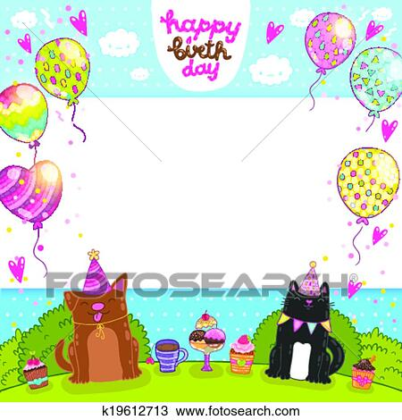 Clipart Of Happy Birthday Card With Cat Dog And Cupcake K19612713