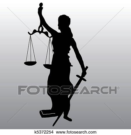 Justice statue silhouette Clipart   k5372254   Fotosearch