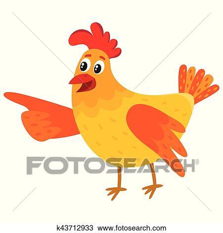 Dessin Animé Poule clipart - rigolote, dessin animé, poulet, poule, indiquer, quelque