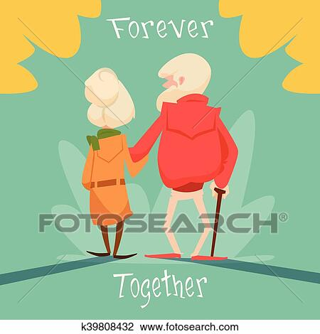 Clipart of senior couple walking forever together grandparents day clipart senior couple walking forever together grandparents day greeting card fotosearch search clip m4hsunfo