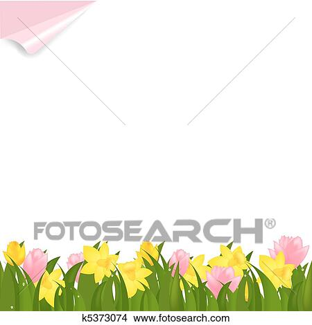 Clipart of spring flowers k5373074 search clip art illustration border from narcissuses and yellow tulips isolated on white background vector illustration mightylinksfo