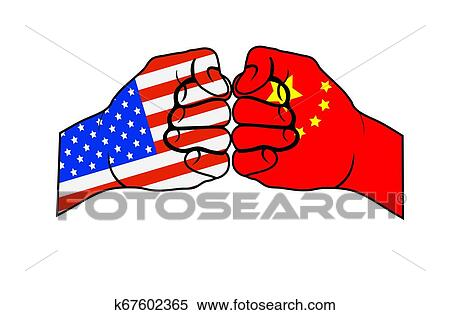 Two Fists With Us Flag And China Flag Clipart K67602365 Fotosearch