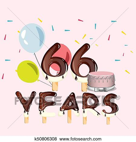 Clip Art Of 66 Years Happy Birthday Card K50806308 Search Clipart