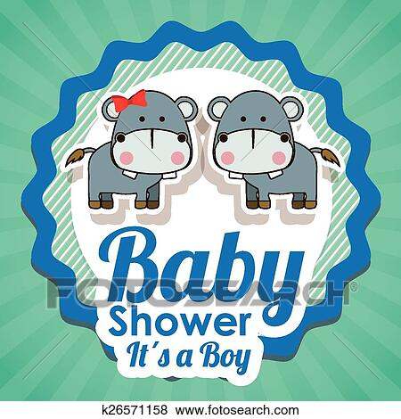 Clip Art Of Baby Shower Design Vector Illustration K26571158