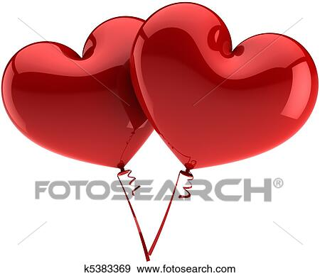 Stock Photograph Of Ballons As Hearts Love Symbols K5383369