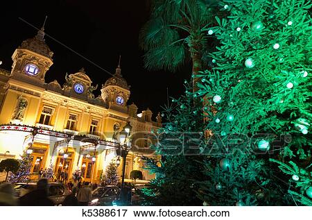 Christmas In France Decorations.Christmas Decorations In Monaco Montecarlo France Stock Photo