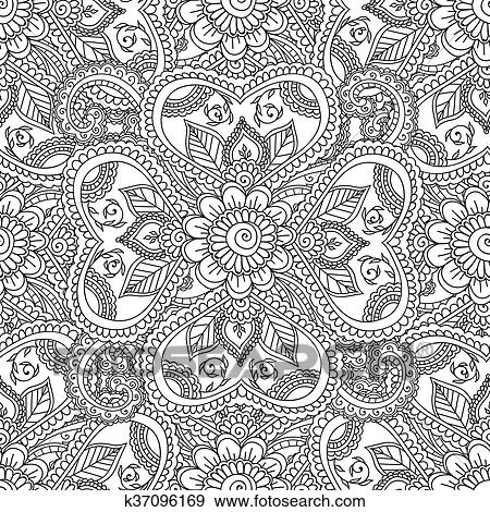 Clip Art of Coloring pages for adults. Seamles Henna Mehndi Doodles ...