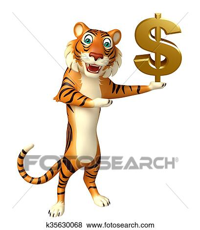 Cute Tiger cartoon character with dollar sign Stock Illustration