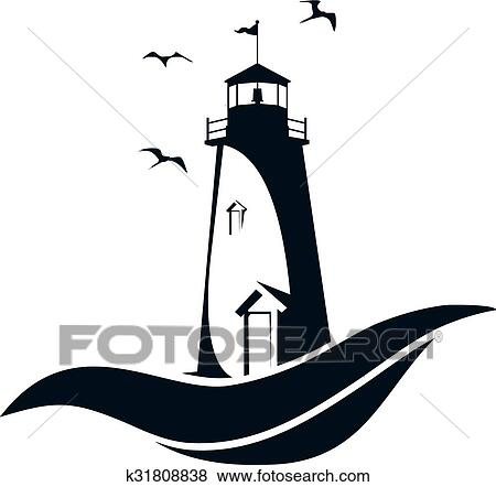 clip art of lighthouse k31808838 search clipart illustration rh fotosearch com lighthouse clip art drawings lighthouse clip art black and white