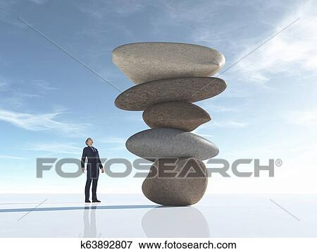 Man Looks At Some Rocks Arranged In Balance Stock Illustration