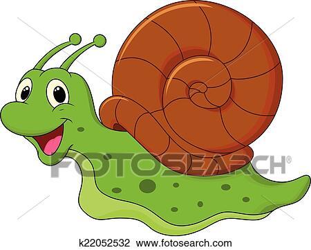 Clipart mignon escargot dessin anim k22052532 - Clipart escargot ...