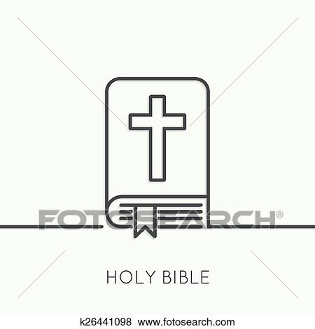 Clip Art Of Open Bible With A Crucifix K26441098 Search Clipart