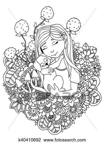 Clipart - vector, ilustración, niña, niño, y, perrito, en, flowers ...