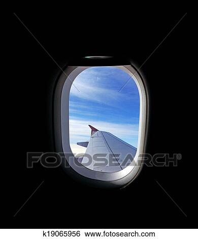 View From An Airplane Window Stock Photograph K19065956 Fotosearch