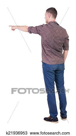 eafe23f93 ... hombres jóvenes, en, camisa, y, jeans., joven, tipo, gesture., vista  trasera, gente, collection., trasero, vista, de, person., aislado, encima,  blanco, ...