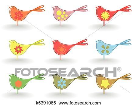 小鳥 クリップアート切り張りイラスト絵画集 K5391065