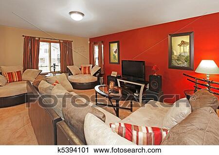 Stock Fotografie - asiatische, stil, von, wohnzimmer, mit, rote wand ...