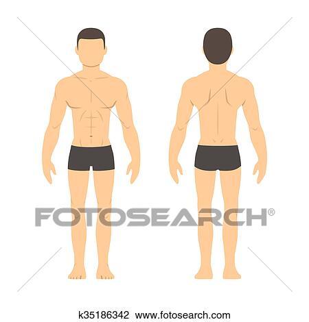 Atletico Homem Frente E Costas Desenho K35186342 Fotosearch