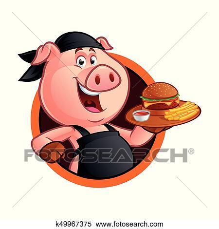 Cartone animato maiale chef clipart k fotosearch