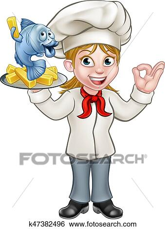 clip art of cartoon chef fish and chips woman k47382496 search rh fotosearch com female chef clip art with blonde hair black female chef clipart