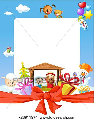 Clipart of Christmas frame - nativity with jesus, maria and joseph ...