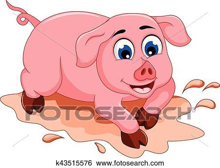Divertente maiale cartone animato con fango pozzanghera clip