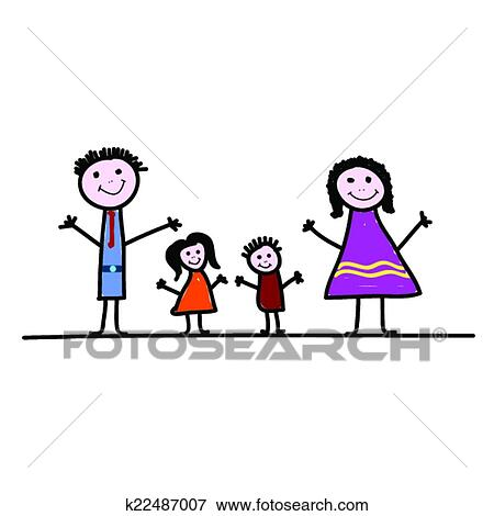 Famille Dessin Anime Couleur Vecteur Clipart K22487007 Fotosearch