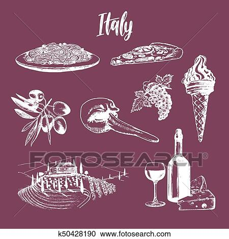 Clipart Of Italian Set Of Sketches Hand Drawn Illustrations Of