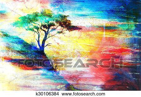 Dibujos pintura ocaso mar y rbol papel pintado - Papel pintado paisajes ...