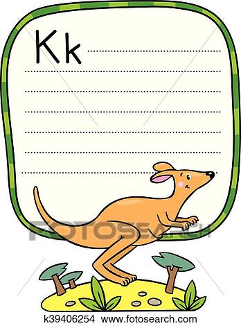 Clipart - poco, canguro, ilustración, para, abc., alfabeto, k ...