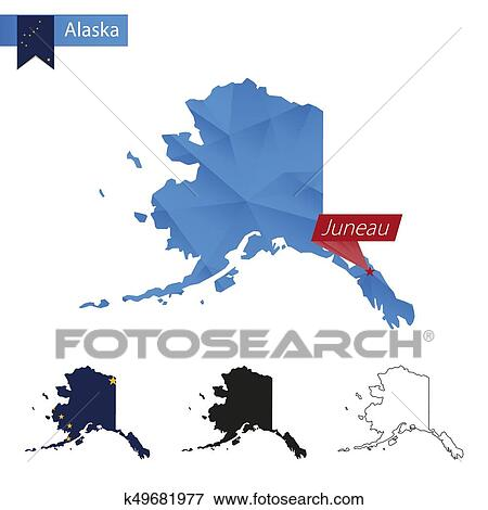 State of Alaska blue Low Poly map with capital Juneau. Clip Art