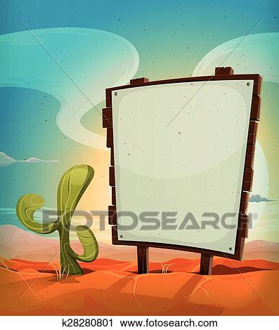 clipart of summer mexican desert with wood sign k28280801 search rh fotosearch com Cartoon Sunrise Clip Art Mountain Sunrise Clip Art
