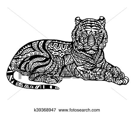 Tiger Zentangle Illustration Clip Art K39368947 Fotosearch