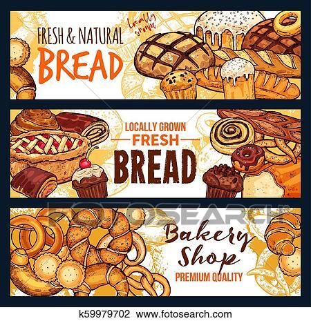 Bread そして ペストリー 食物 スケッチ 旗 の パン屋 店 クリップアート 切り張り イラスト 絵画 集 K Fotosearch