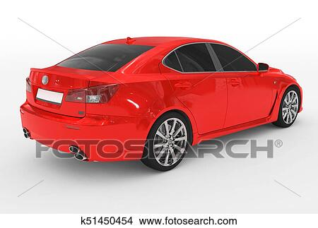 Car Isolated On White Red Paint Tinted Gl Back Right Side View Rendering