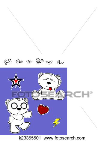 Clipart Of Cute Polar Bear Baby Cartoon Set5 K23355501 Search Clip