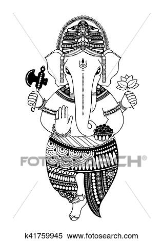 Colección de ilustraciones - ganesha, en, negro y blanco k41759945 ...