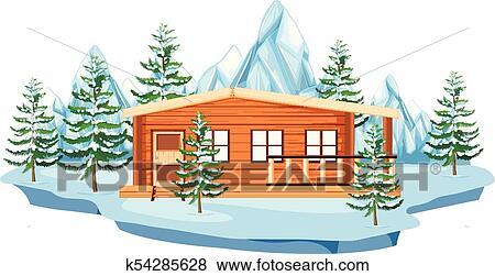Clipart Petite Maison Bois Dans Champ Neige K54285628