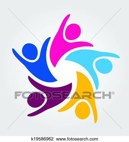 Clipart Of Teamwork Unity People Logo K19586962 Search Clip Art
