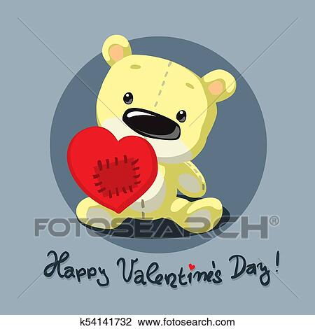 clipart of valentines teddy bear with heart flat design vector
